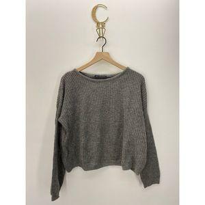 Brandy Melville Crew Neck Pullover Sweater Gray